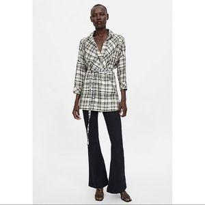 Zara Oversized Plaid Blouse